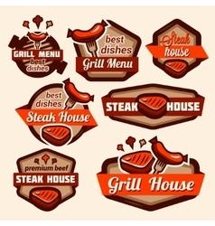 grill logos set vector image vector image