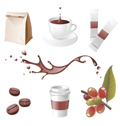 realistic coffee icons set vector image vector image