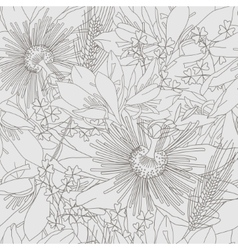Seamless grey pattern with flowers lily vector image