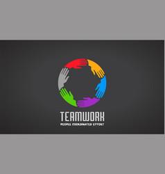 teamwork business hands logo design vector image