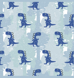 dino blue color boy seamless pattern vector image