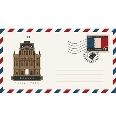 envelope with a postage stamp with Louvre vector image vector image