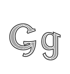 Font tattoo engraving letter G with shading vector image vector image