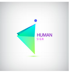 geometric origami man logo sign leader vector image