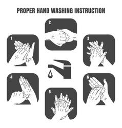 Proper hand washing instruction black icons vector image vector image