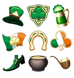 Saint Patricks Day Emblem Set vector image vector image
