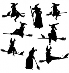 witch silhouettes vector image vector image