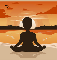 woman silhouette doing yoga on beach at sunset vector image vector image