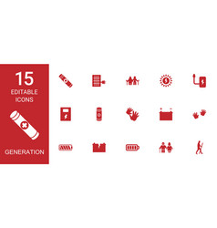 15 generation icons vector
