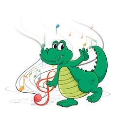 A dancing dinosaur vector image