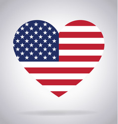 American flag in heart shape vector