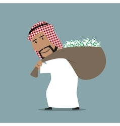 Arabian businessman carrying full money bag vector image
