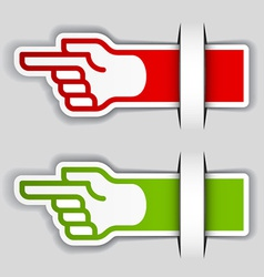 Attached pointing hand labels vector