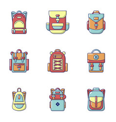 Backpack icons set cartoon style vector