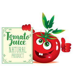 Banner for tomato juice with cute character tomato vector