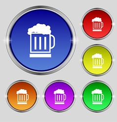 Beer glass icon sign Round symbol on bright vector image