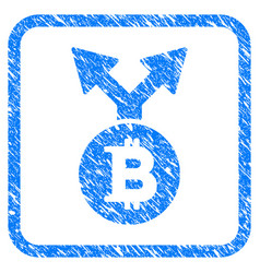 bitcoin bifurcation framed stamp vector image