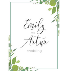 Botanical watercolor style wedding invitation vector