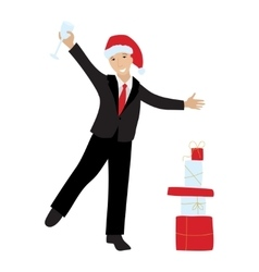 Businessman in Sana hat and champagne glass vector