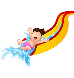 cartoon boy playing waterslide vector image