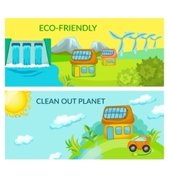 Cartoon Ecology Horizontal Banners vector image
