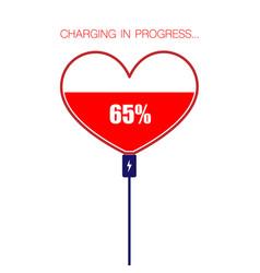 Charging red heart symbol vector