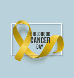 Childhood cancer day banner with realistic yellow vector