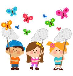 children catching butterflies vector image