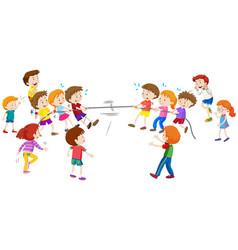 Children playing tug a war vector