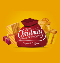 christmas gifts and presents sale offer vector image