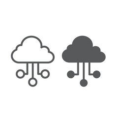 cloud network line and glyph icon internet and vector image