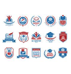 college emblem school or university badges vector image