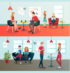 Creative coworking interior composition vector