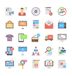 Creative flat icon media and advertisement set vector