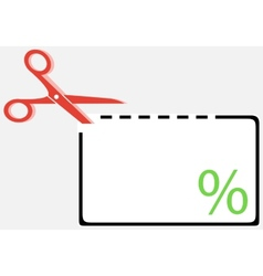 Cut out coupon with scissors and percentage symbol vector