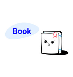 cute book cartoon comic character with smiling vector image