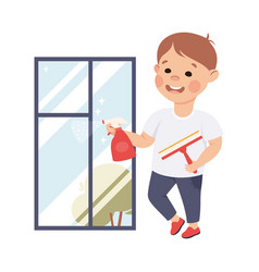Cute boy cleaning window kid helping his parents vector