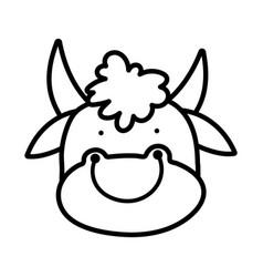Cute bull face farm animal cartoon thick line vector