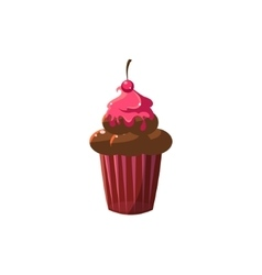 Cute cupcake with marashino cherry vector