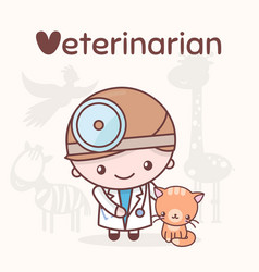 cute kawaii characters alphabet professions vector image
