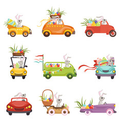 Cute little bunnies driving vintage car decorated vector