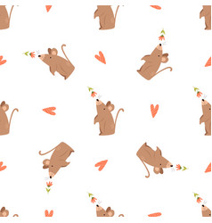 cute seamless pattern with funny mouse and flowers vector image