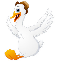 cute swan cartoon wearing a hat vector image