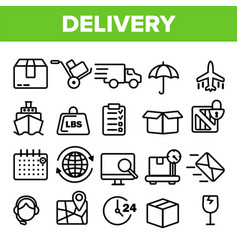delivery line icon set fast transportation vector image