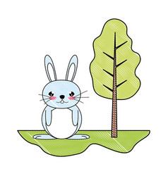 Doodle cute male rabbit animal in the landscape vector