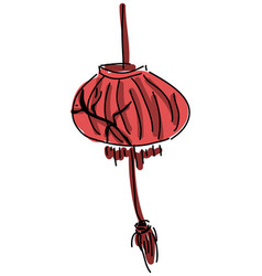 drawn red lamp vector image