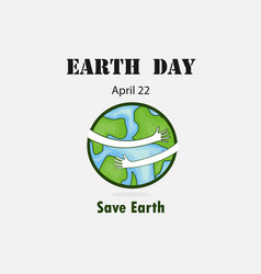 earth day april 22 with globe cute characterearth vector image