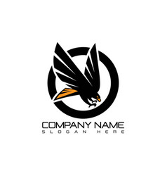 Emblem eagle flying logo concept icon vector