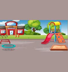Empty school outdoor playground vector