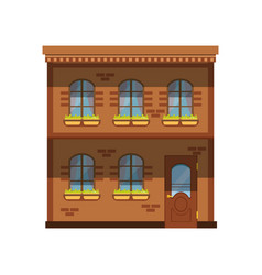 facade of the two story building city house vector image vector image
